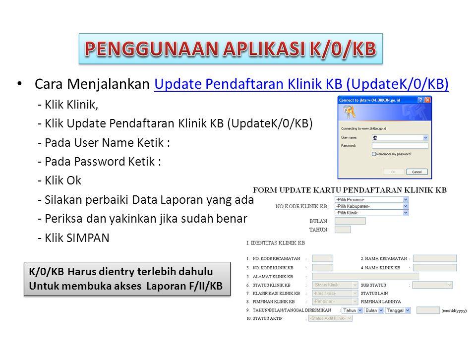 PENGGUNAAN APLIKASI K/0/KB