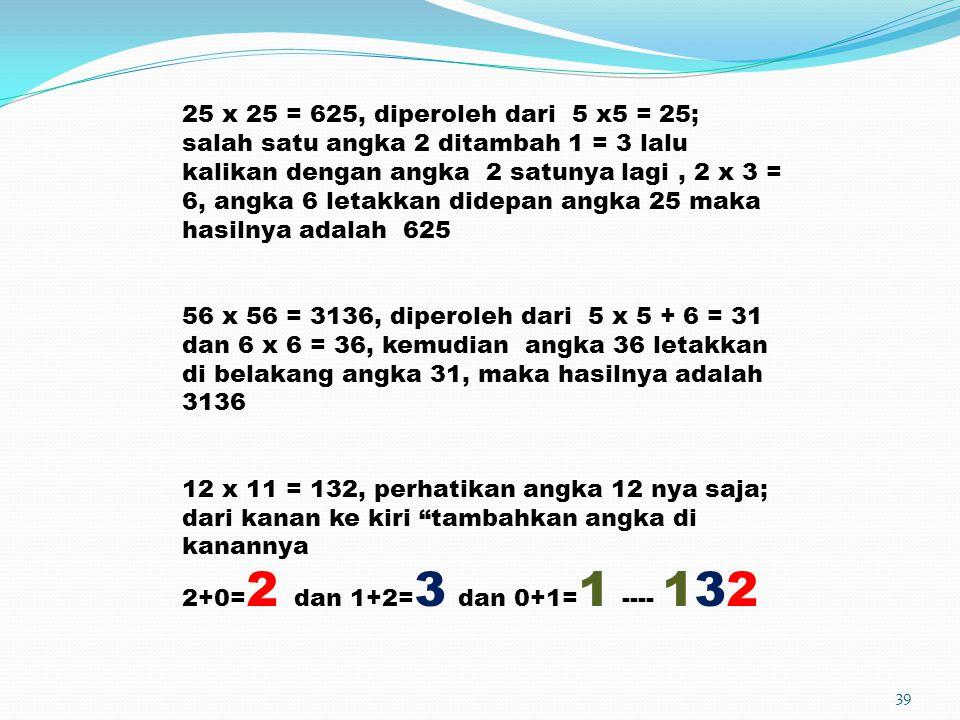 25 x 25 = 625, diperoleh dari 5 x5 = 25; salah satu angka 2 ditambah 1 = 3 lalu kalikan dengan angka 2 satunya lagi , 2 x 3 = 6, angka 6 letakkan didepan angka 25 maka hasilnya adalah 625
