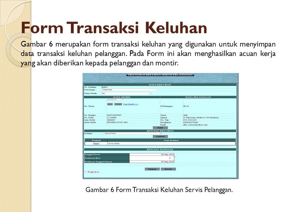 Form Transaksi Keluhan