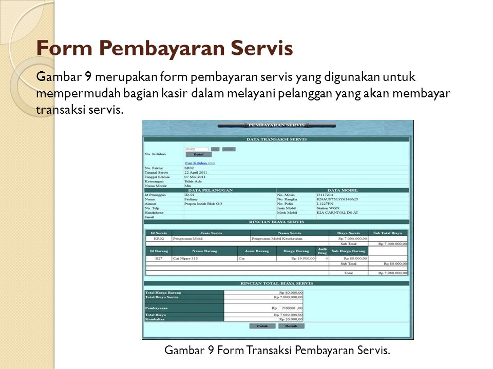 Form Pembayaran Servis