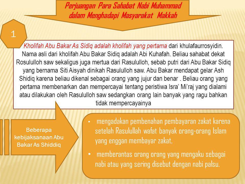 Beberapa kebijaksanaan Abu Bakar As Shiddiq