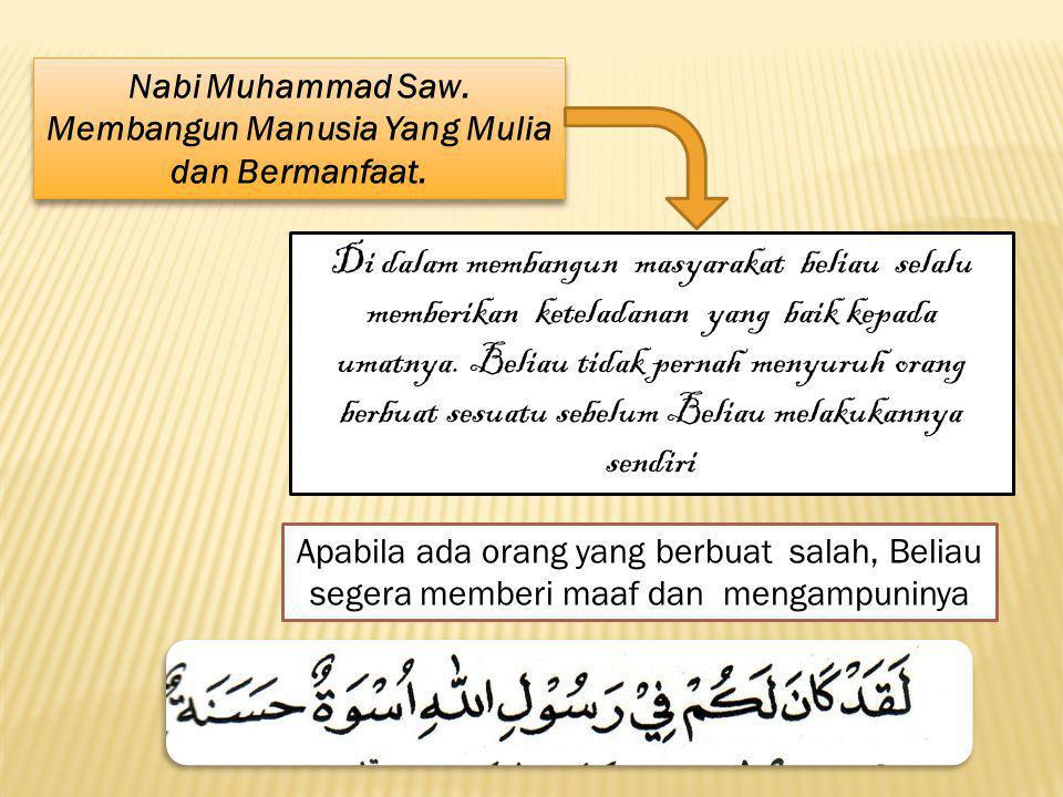 Nabi Muhammad Saw. Membangun Manusia Yang Mulia dan Bermanfaat.