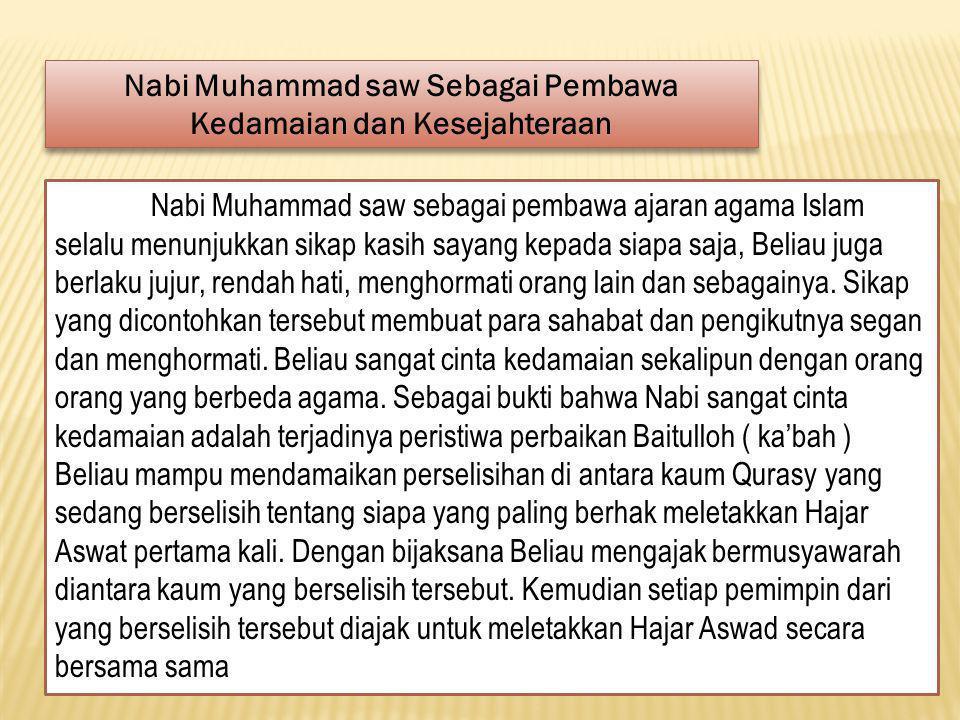 Nabi Muhammad saw Sebagai Pembawa Kedamaian dan Kesejahteraan