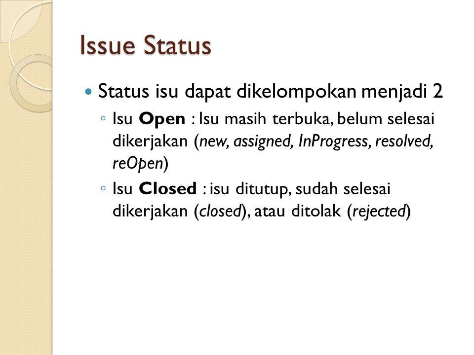 Issue Status Status isu dapat dikelompokan menjadi 2