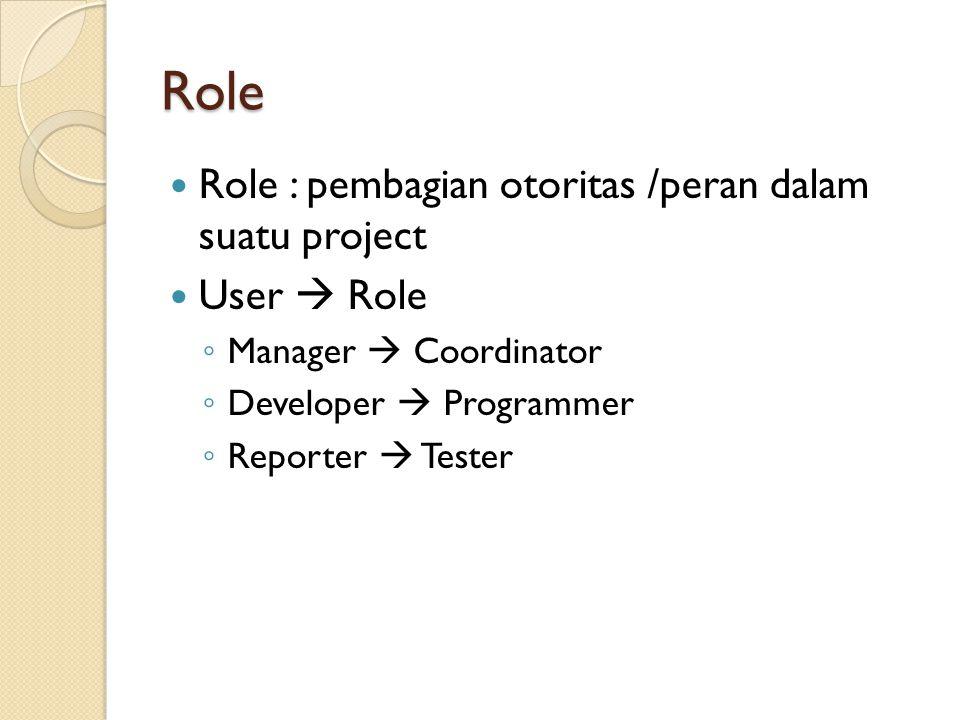 Role Role : pembagian otoritas /peran dalam suatu project User  Role