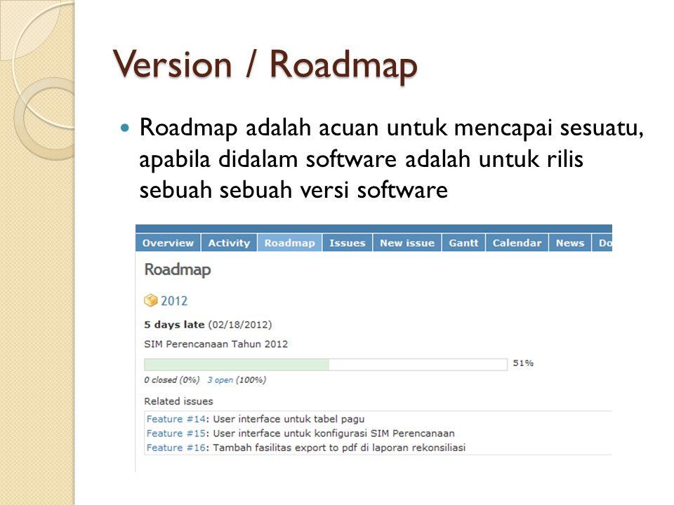 Version / Roadmap Roadmap adalah acuan untuk mencapai sesuatu, apabila didalam software adalah untuk rilis sebuah sebuah versi software.