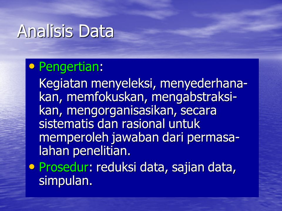 Analisis Data Pengertian: