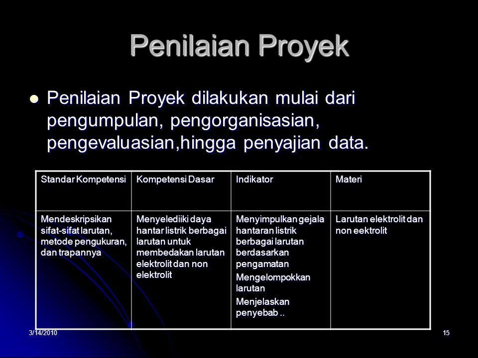 Penilaian Proyek Penilaian Proyek dilakukan mulai dari pengumpulan, pengorganisasian, pengevaluasian,hingga penyajian data.