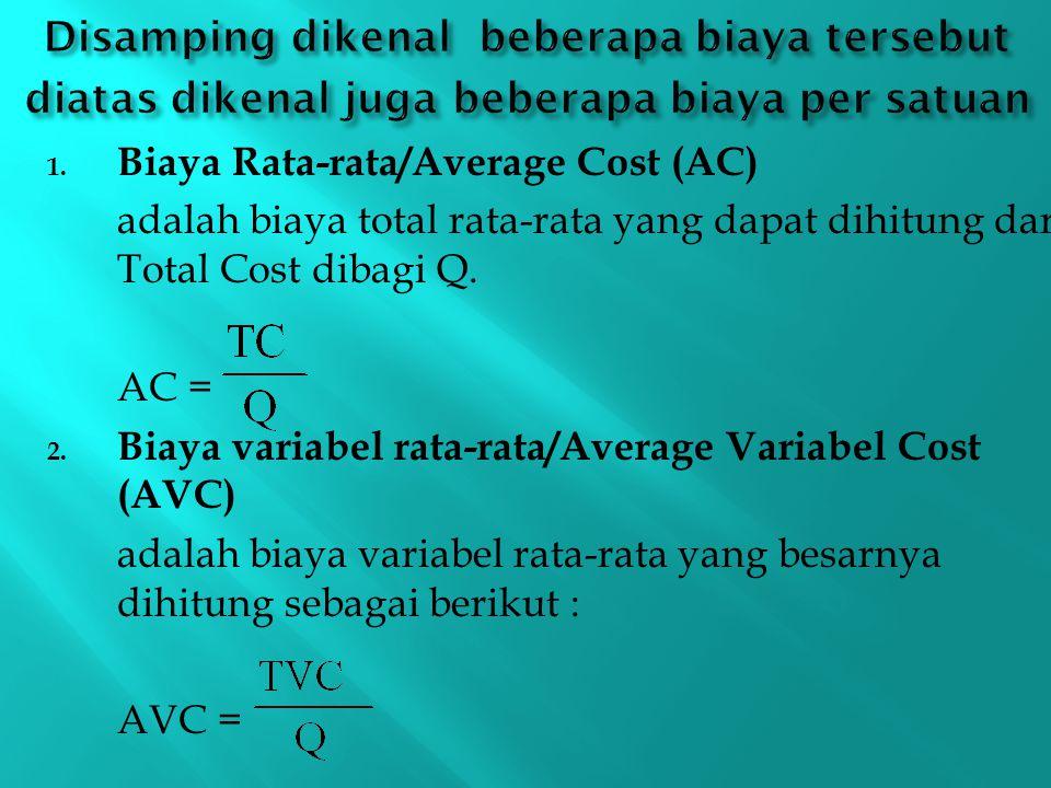 Disamping dikenal beberapa biaya tersebut diatas dikenal juga beberapa biaya per satuan