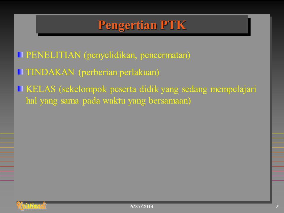 Pengertian PTK PENELITIAN (penyelidikan, pencermatan)