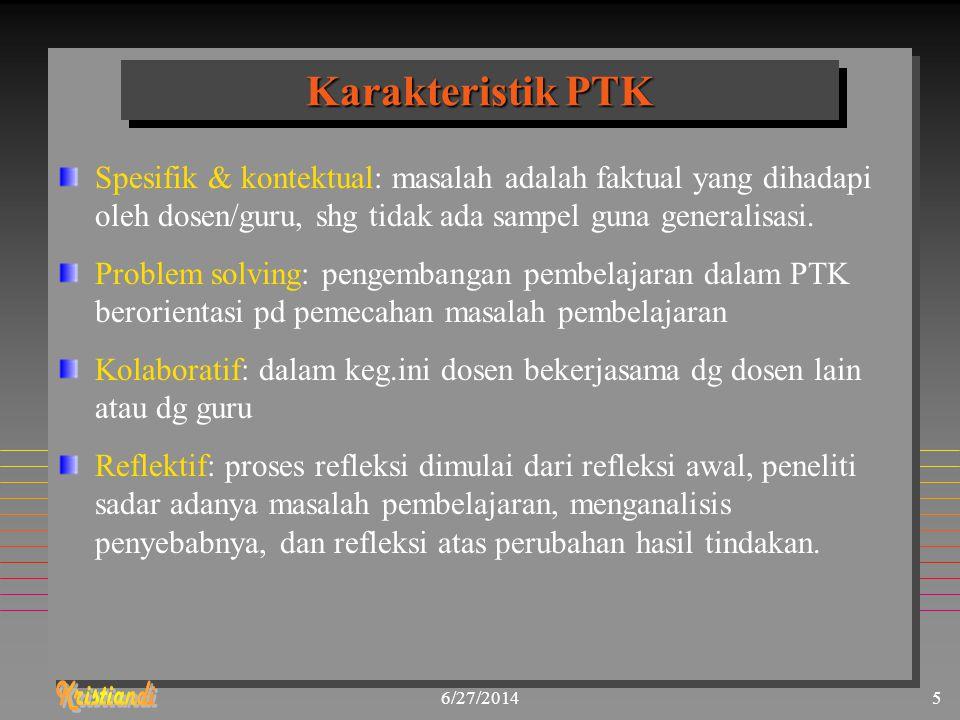 Karakteristik PTK Spesifik & kontektual: masalah adalah faktual yang dihadapi oleh dosen/guru, shg tidak ada sampel guna generalisasi.