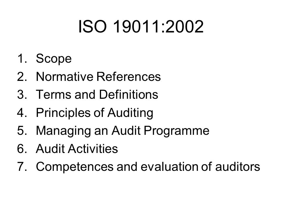ISO 19011:2002 Scope Normative References Terms and Definitions