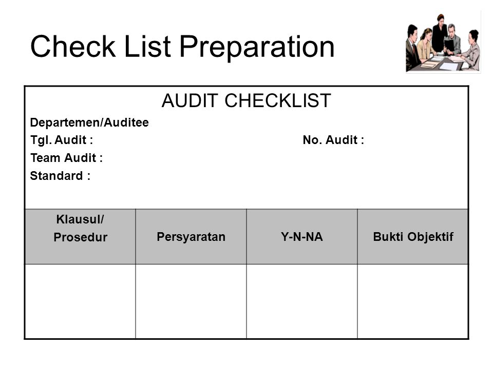 Check List Preparation