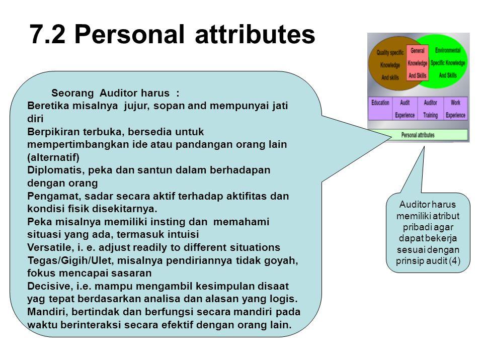 7.2 Personal attributes Seorang Auditor harus :