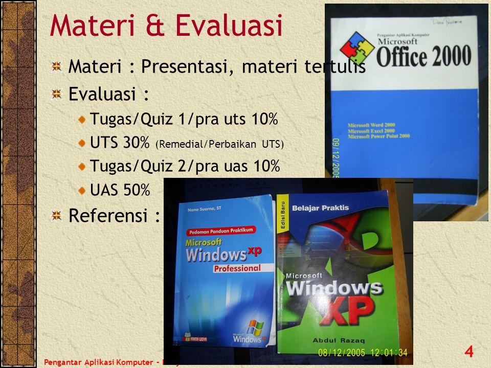 Materi & Evaluasi Materi : Presentasi, materi tertulis Evaluasi :