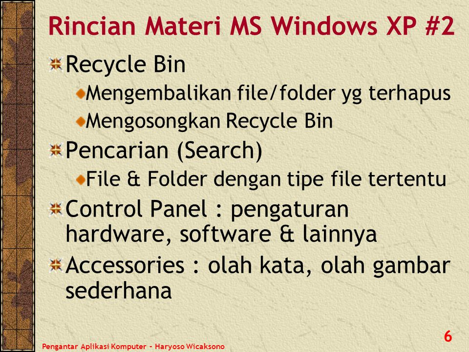 Rincian Materi MS Windows XP #2