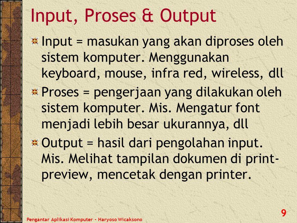 Input, Proses & Output Input = masukan yang akan diproses oleh sistem komputer. Menggunakan keyboard, mouse, infra red, wireless, dll.