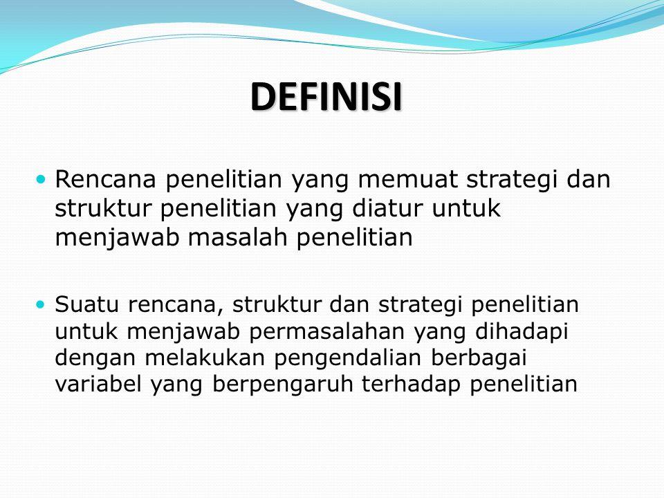 DEFINISI Rencana penelitian yang memuat strategi dan struktur penelitian yang diatur untuk menjawab masalah penelitian.