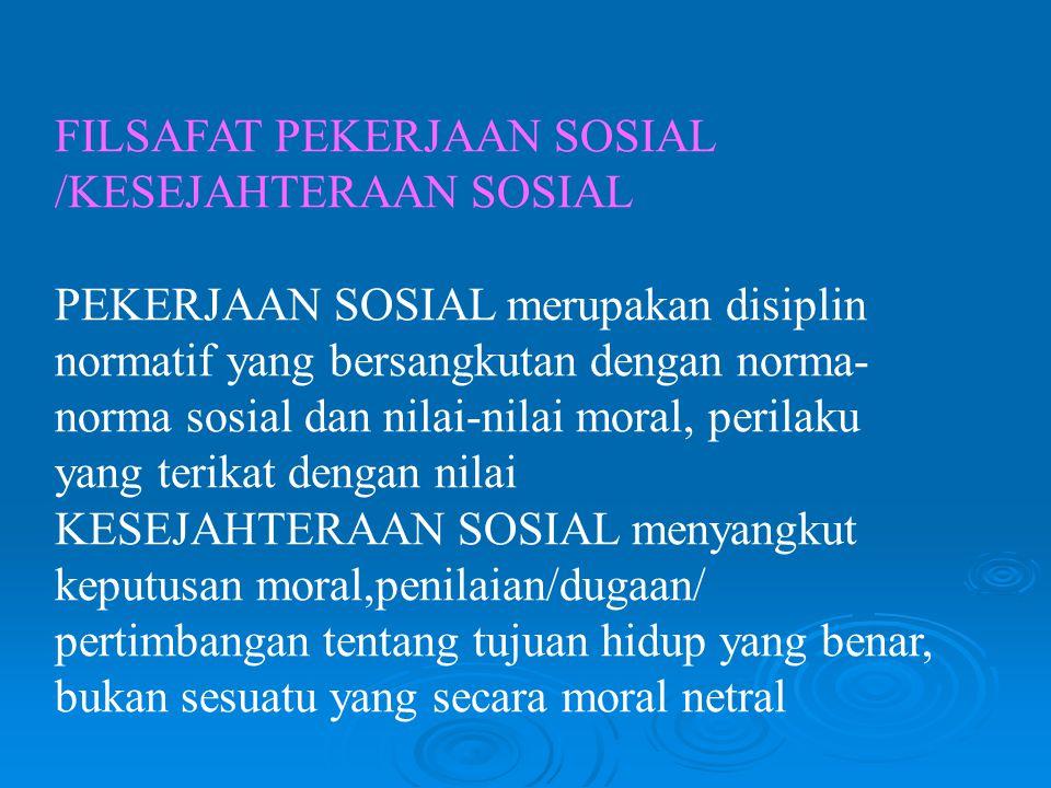 FILSAFAT PEKERJAAN SOSIAL /KESEJAHTERAAN SOSIAL