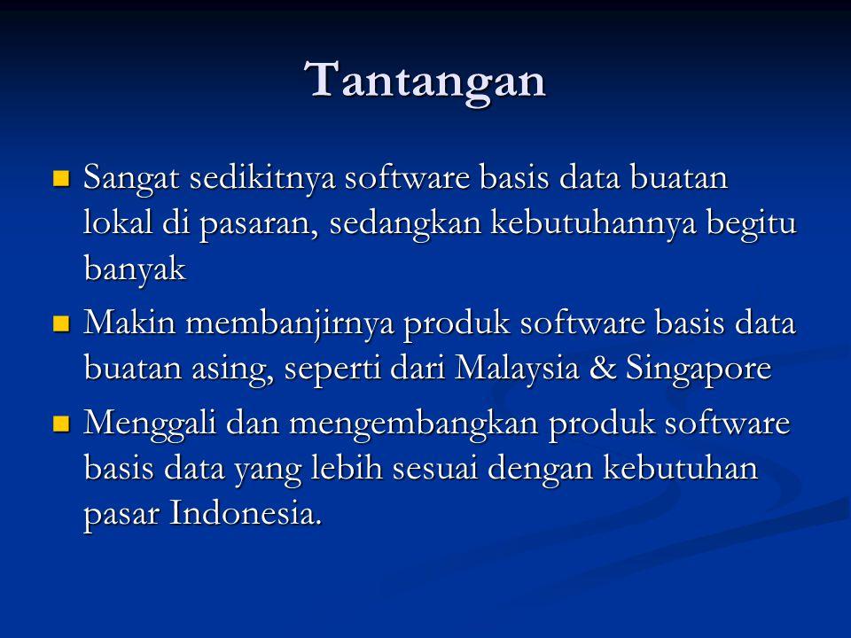 Tantangan Sangat sedikitnya software basis data buatan lokal di pasaran, sedangkan kebutuhannya begitu banyak.