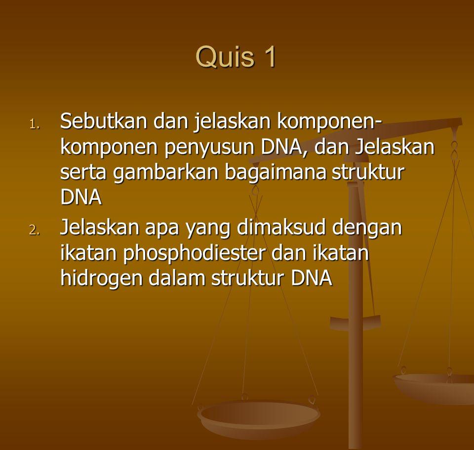 Quis 1 Sebutkan dan jelaskan komponen-komponen penyusun DNA, dan Jelaskan serta gambarkan bagaimana struktur DNA.