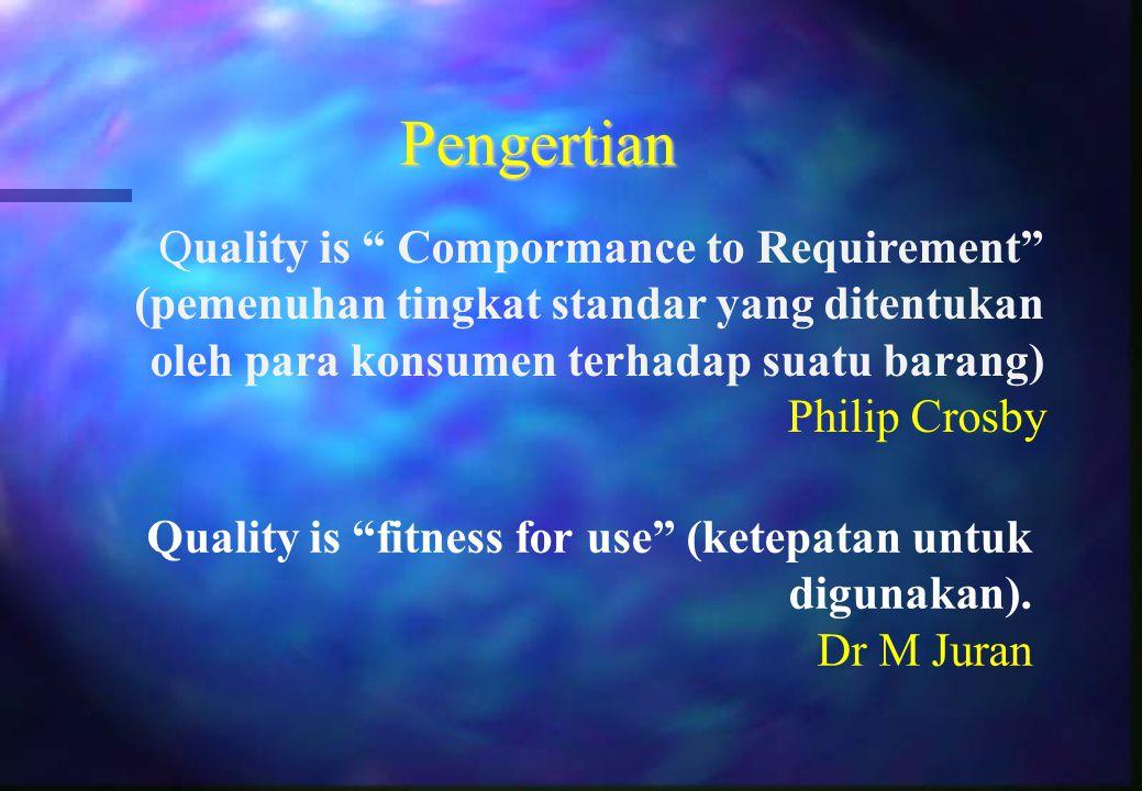 Pengertian Quality is Compormance to Requirement (pemenuhan tingkat standar yang ditentukan oleh para konsumen terhadap suatu barang)