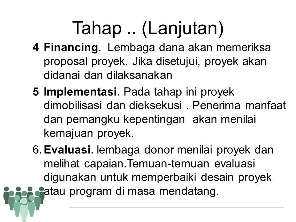 Tahap .. (Lanjutan) Financing. Lembaga dana akan memeriksa proposal proyek. Jika disetujui, proyek akan didanai dan dilaksanakan.