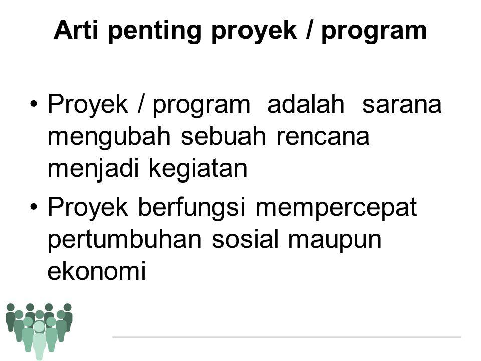 Arti penting proyek / program