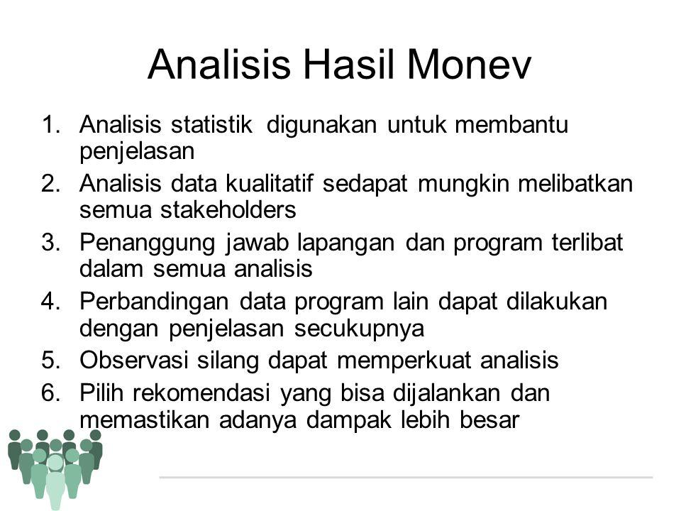 Analisis Hasil Monev Analisis statistik digunakan untuk membantu penjelasan. Analisis data kualitatif sedapat mungkin melibatkan semua stakeholders.
