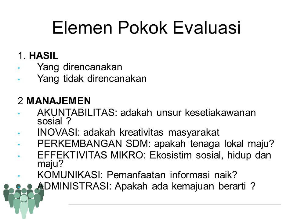 Elemen Pokok Evaluasi 1. HASIL Yang direncanakan