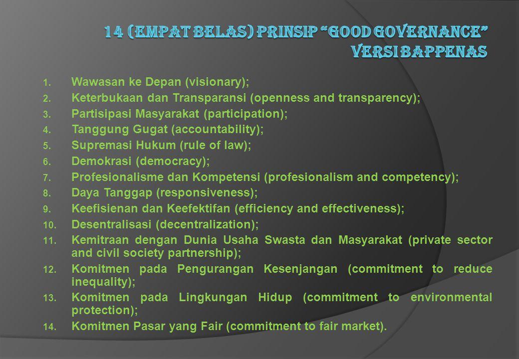 14 (empat belas) Prinsip Good Governance versi Bappenas