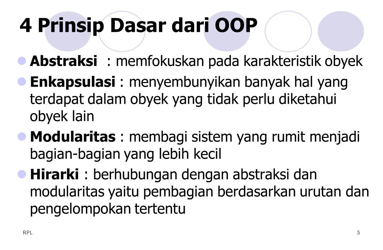4 Prinsip Dasar dari OOP Abstraksi : memfokuskan pada karakteristik obyek.