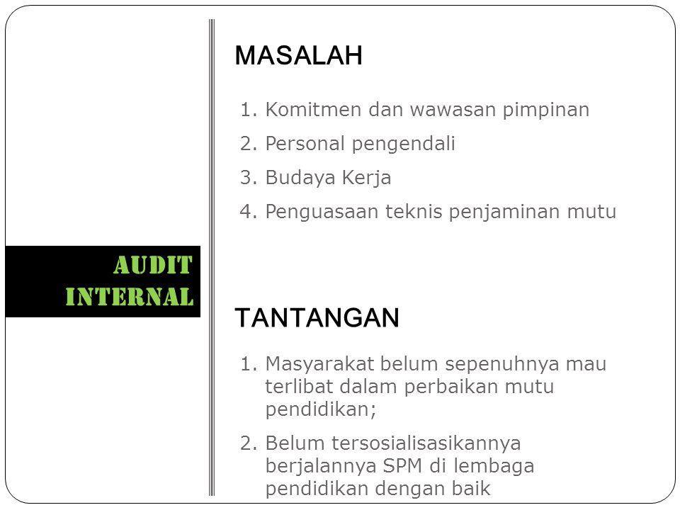 MASALAH AUDIT INTERNAL TANTANGAN Komitmen dan wawasan pimpinan
