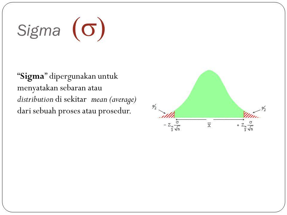 Sigma (s) Sigma dipergunakan untuk menyatakan sebaran atau distribution di sekitar mean (average) dari sebuah proses atau prosedur.