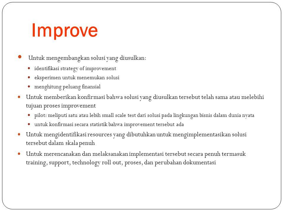 Improve Untuk mengembangkan solusi yang diusulkan: