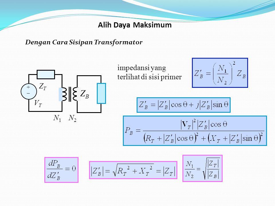 ZB Alih Daya Maksimum impedansi yang terlihat di sisi primer ZT VT