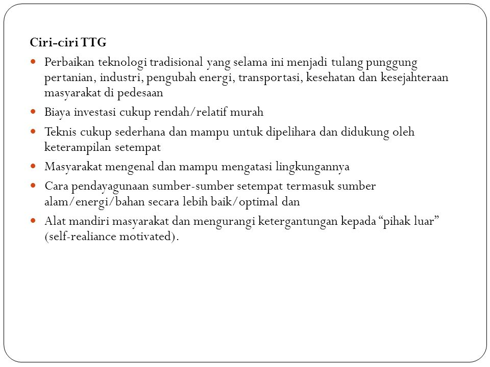 Ciri-ciri TTG