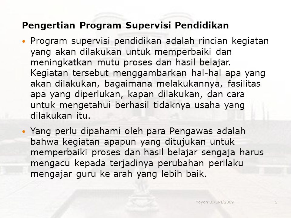 Pengertian Program Supervisi Pendidikan