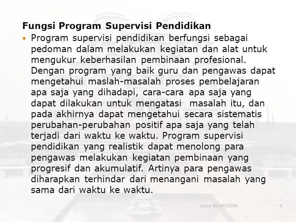 Fungsi Program Supervisi Pendidikan