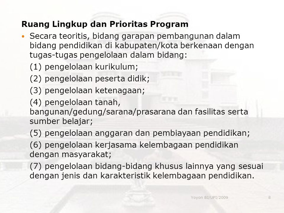 Ruang Lingkup dan Prioritas Program