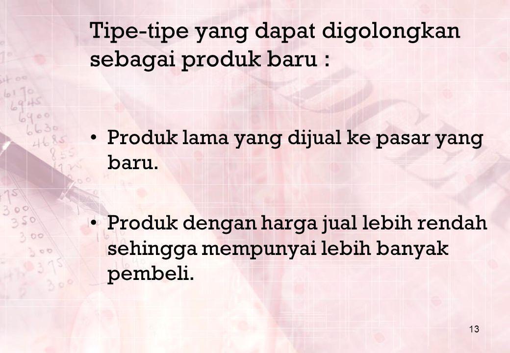 Tipe-tipe yang dapat digolongkan sebagai produk baru :