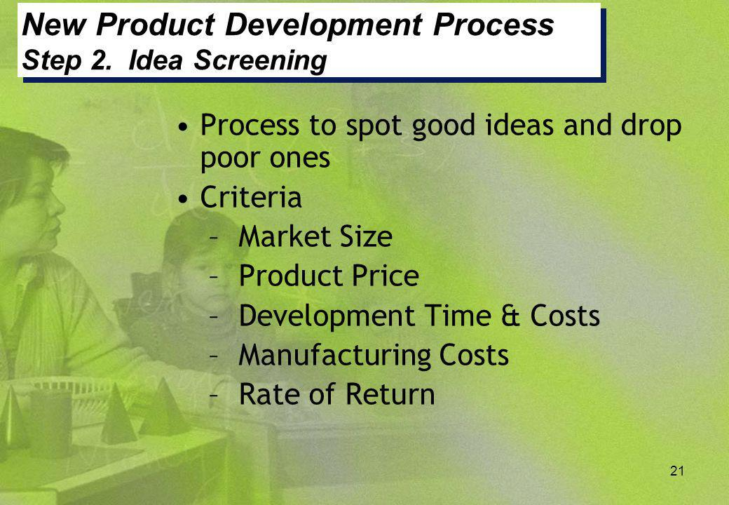 New Product Development Process Step 2. Idea Screening