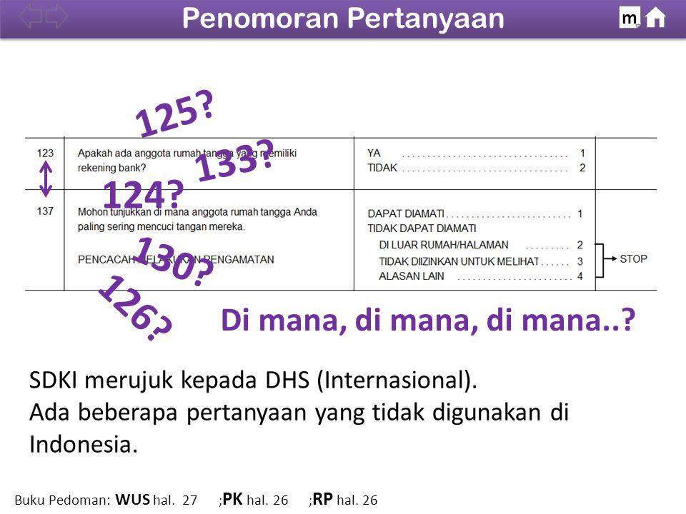 Penomoran Pertanyaan m. 100% 125 133 124 130 126 Di mana, di mana, di mana.. SDKI merujuk kepada DHS (Internasional).