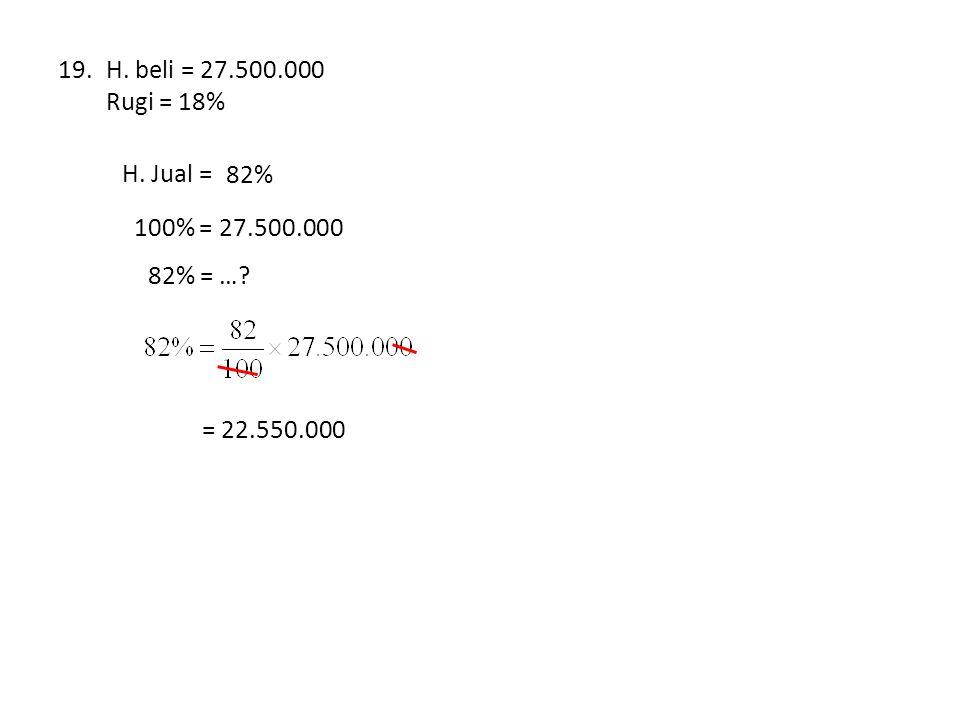 H. beli = 27.500.000 Rugi = 18% H. Jual = … % 82% 100% = 27.500.000 82% = … = 22.550.000