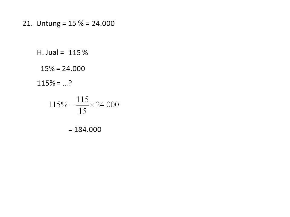 21. Untung = 15 % = 24.000 H. Jual = … % 115 % 15% = 24.000 115% = … = 184.000