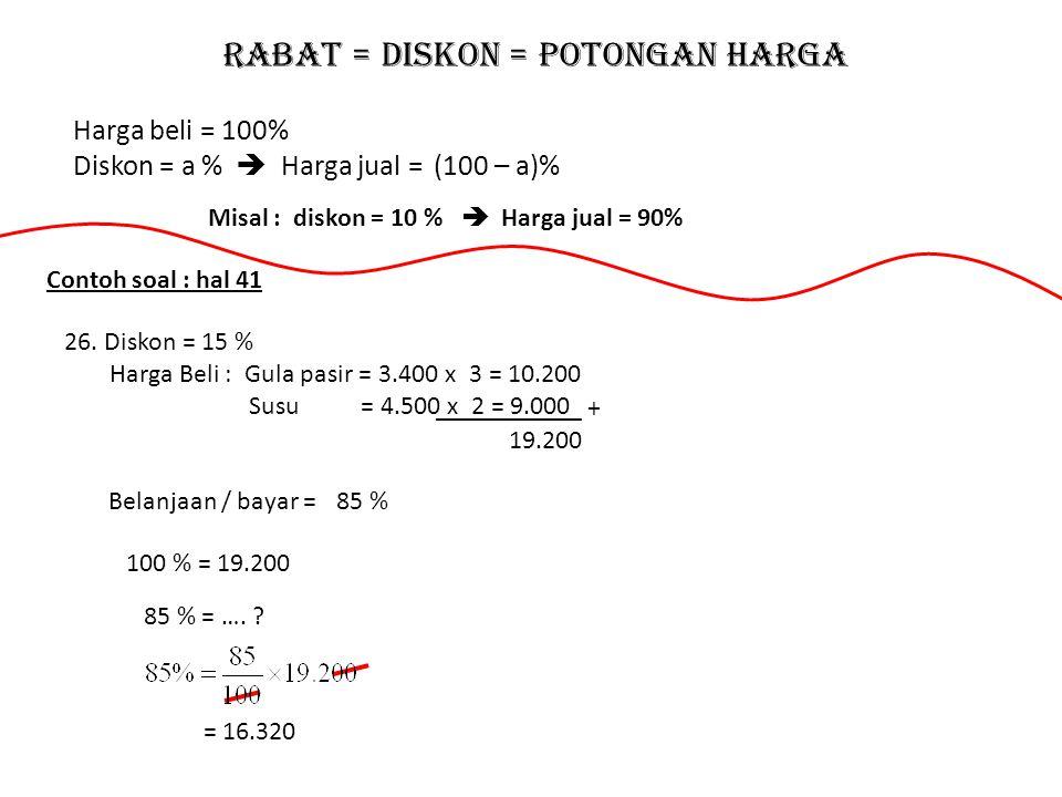 Rabat = Diskon = Potongan harga