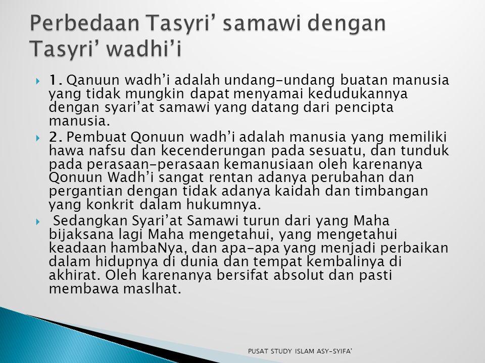 Perbedaan Tasyri' samawi dengan Tasyri' wadhi'i