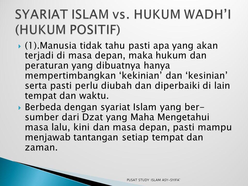 SYARIAT ISLAM vs. HUKUM WADH'I (HUKUM POSITIF)