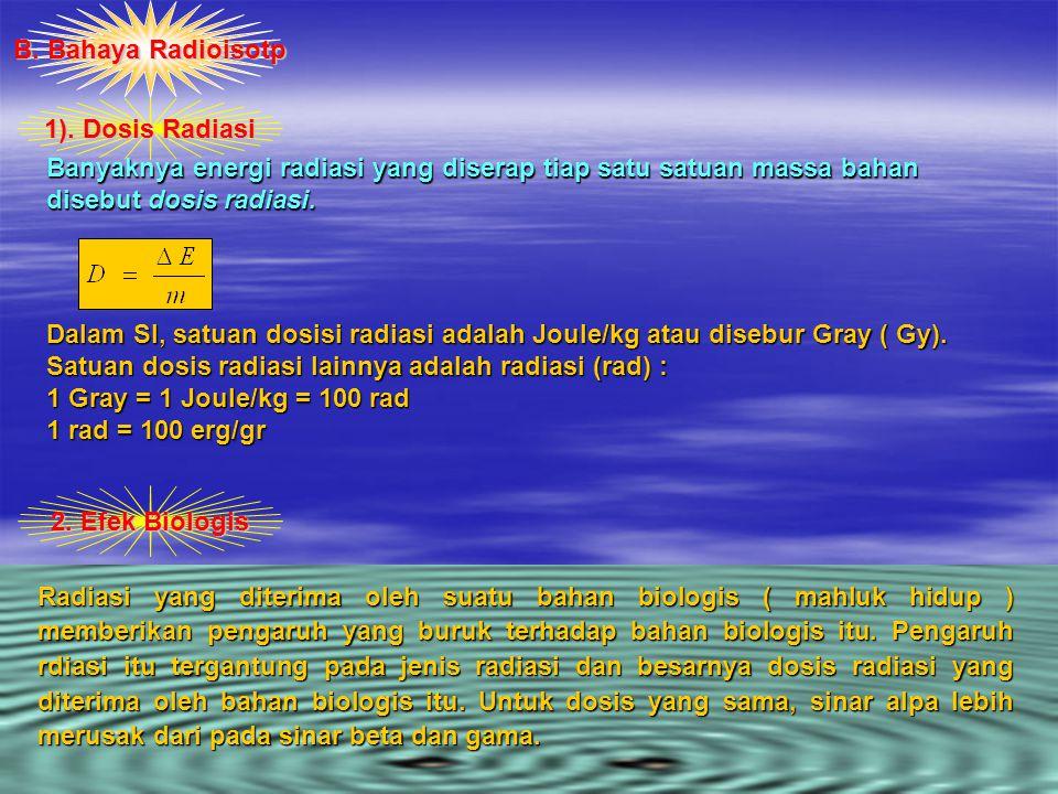 B. Bahaya Radioisotp 1). Dosis Radiasi. Banyaknya energi radiasi yang diserap tiap satu satuan massa bahan disebut dosis radiasi.