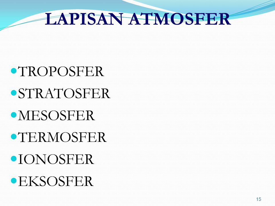 LAPISAN ATMOSFER TROPOSFER STRATOSFER MESOSFER TERMOSFER IONOSFER